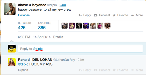 @diplo your jewish fanbase seems pretty dedicated LOL http://t.co/nxcGuj3tA4
