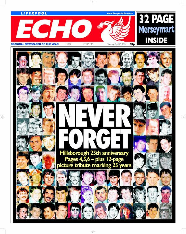 Liverpool Echos poignant front page features the faces of each of the Hillsborough 96 victims