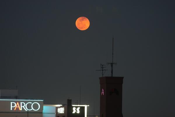 18時50分現在、名古屋では東南東の低空に赤い月が見えています。今日の皆既月食は地平線下で、すでに終わっており、この赤さは夕日が赤く見えるのと同じ現象です。 http://t.co/tHa6jJD7MS