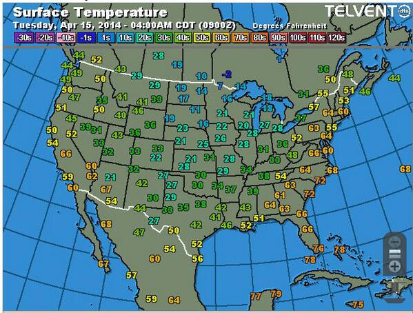 Another cold morning across the U.S  Southern Plains. Now wait 10 days & see what kind of damage was done to wheat: http://t.co/1JmbGZAEly