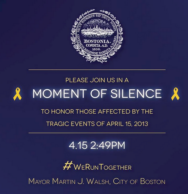 Please join in a moment of silence at 2:49pm today to remember the Boston Marathon tragedy 1 year ago. #WeRunTogether http://t.co/kurOXvXOKZ