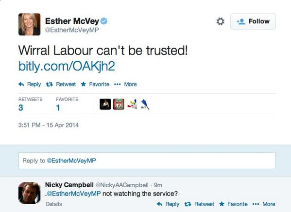 .@EstherMcVeyMP sends a series of political tweets during the Hillsborough Memorial Service. http://t.co/jwyIHnOoFR