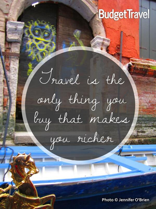 """Travel is the only thing you buy that makes you richer."" Happy #TravelTuesday! #ttot http://t.co/xOPY3rDMMy"