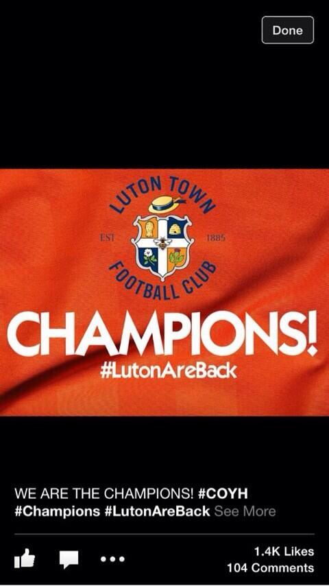 Waited 5years for this day ,back to league football!!! BOOM  #lutonareback http://t.co/DWhcueexyK