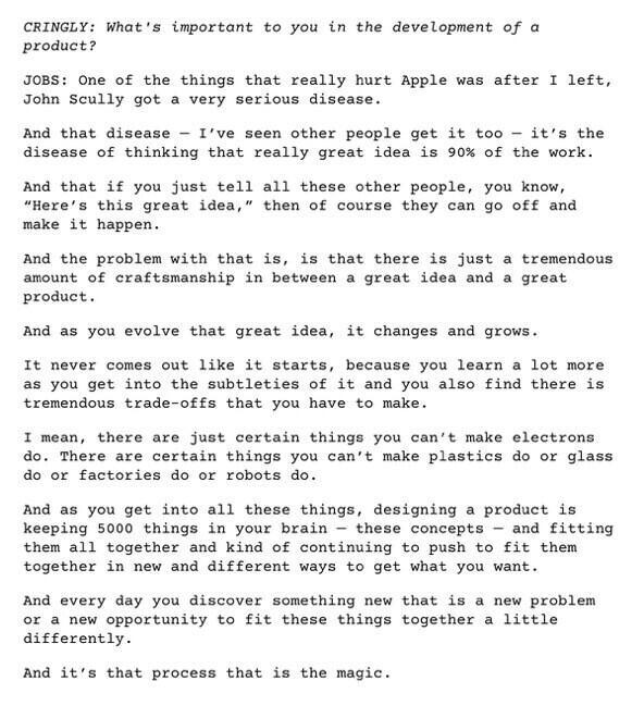 Steve Jobs on the disease of believing that 90% of the work is having a great idea … via @cdixon & @johnmaeda http://t.co/vkIr0QxmMQ