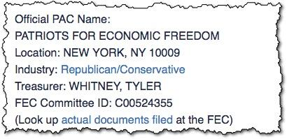 You can see Patriots for Economic Freedom lists Tyler Whitney as their treasurer. http://t.co/LMxFMkOwsK