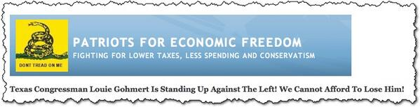 "The website for Patriots for Economic Freedom says they believe in 'Lower Taxes, Less Spending & Conservatism"" http://t.co/BLgjbxAjMP"