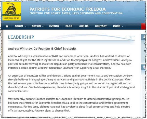 "Here's the ""Andrew Whitney"" bio from the Patriots for Economic Freedom website.: http://t.co/HhQ5BAbWva"