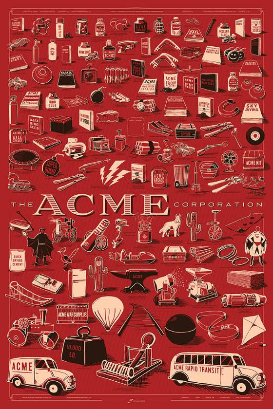 Every Wile E. Coyote ACME gadget on one poster. http://t.co/pKVW4evgzH