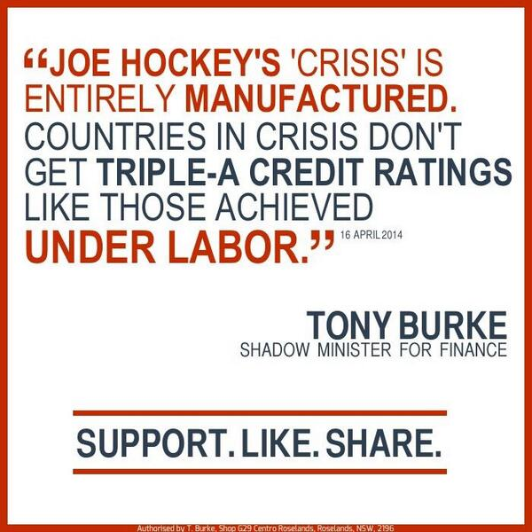 Hockey doubled the deficit in a few months so he could pretend there was a crisis. #auspol http://t.co/UCzVnLoxRw
