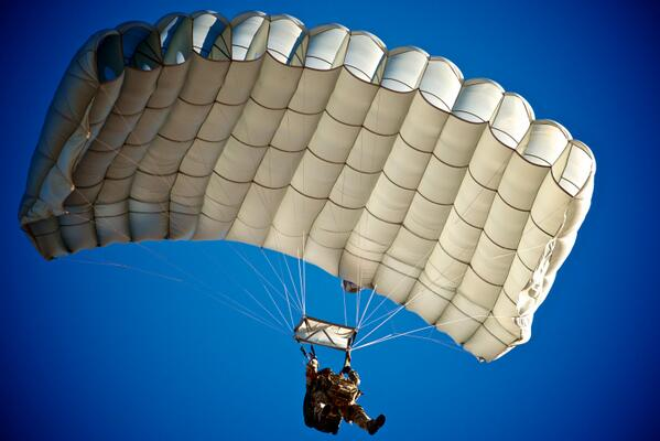 @NationalGuard Special Forces Soldier assigned to 20th SFG flies his canopy during a Military Freefall training jump