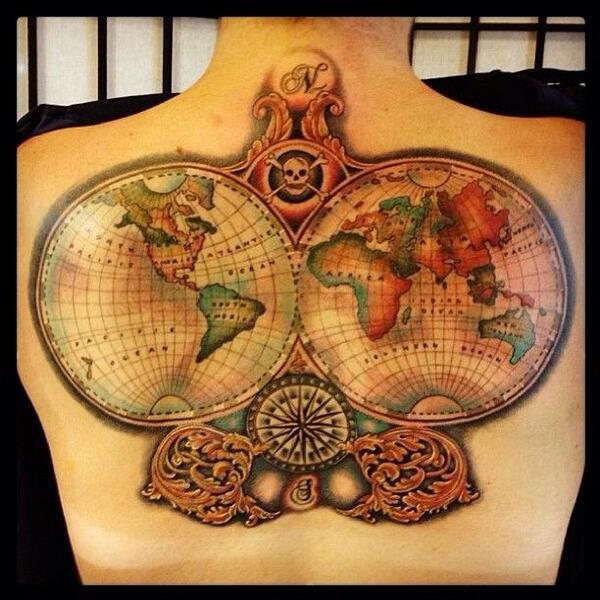 Old World Map Back Tattoo.  Ruby Street Ink RubyStreetInk Twitter