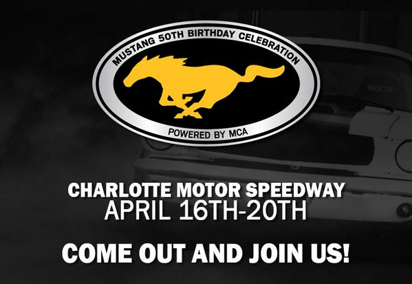 Celebrate @Mustang50th B-Day.  Apr 16-20  @CLTMotorSpdwy.  See Schedule here http://t.co/TCuRCDLog1 @BFGoodrichTires http://t.co/qReRB8YBY6
