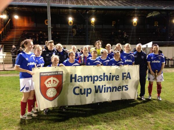 Portsmouth team celebrate winning the 2013/14 Hampshire County Cup (Photo: Lee Roberts)