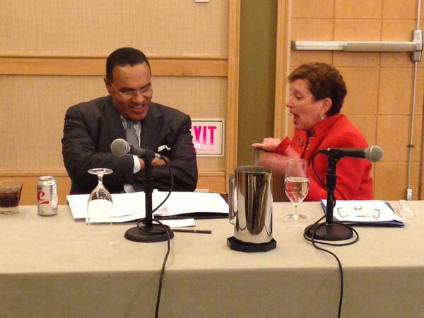 Nancy Cantor @RutgersU & Freeman Hrabowski III @UMBC preparing to talk about #broaderimpacts during #BIIS14 @NSF http://t.co/8RpGem8y67