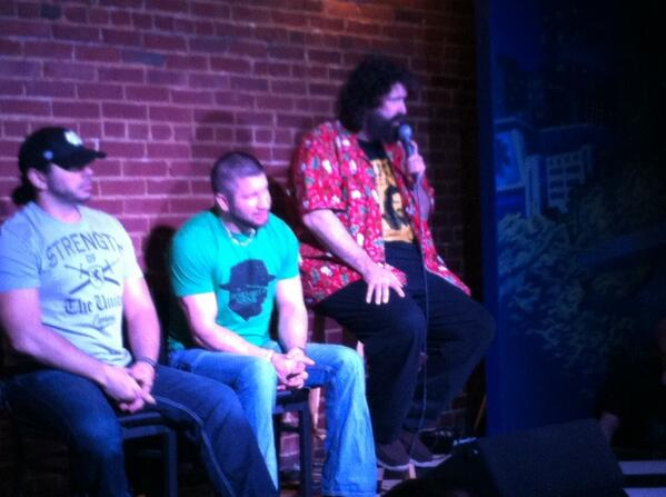 @ @realmickfoley comedy show in Raleigh, NC w/ @ShaneHelmsCom & @MATTHARDYBRAND on panel w/ Tony Hunter keeping me co http://t.co/CYkvKkazVn