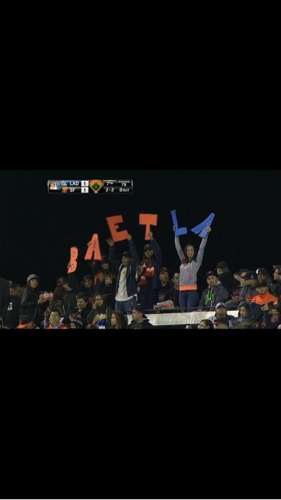 Spelling not a requirement to be a Giants fan. #BaetLA http://t.co/ignA6gg6xw