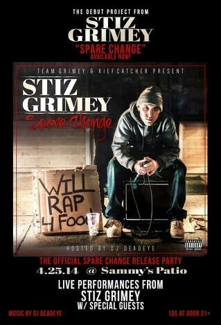 #tonight Sammys Patio - Spare Change release party! Music by @DeadeyeSTdot Ft @StizGrimey & more! http://t.co/0OC8hpy3U7