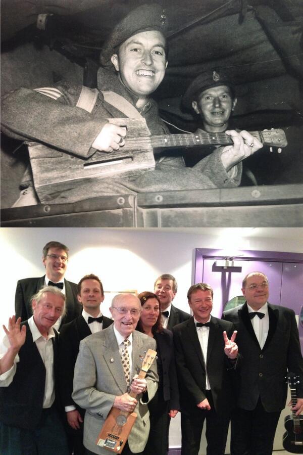Brit Tom Boardman built his own ukulele from scraps when prisoner-of-war in Changi. We met him last night. Uke hero! http://t.co/uydzT6vaHL