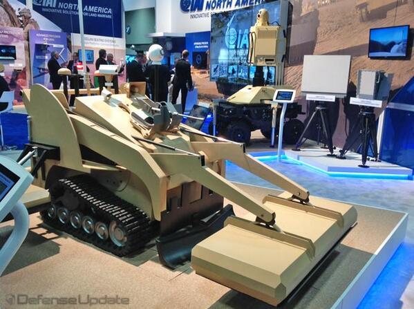 MIDS-countermine-robot。イスラエルに拠点を置くIAIが発表したUGV(無人地上車両)システムの一つ。地中レーダーを搭載して発見した地雷/IED(即席爆発装置)の位置データなどを送信できる。