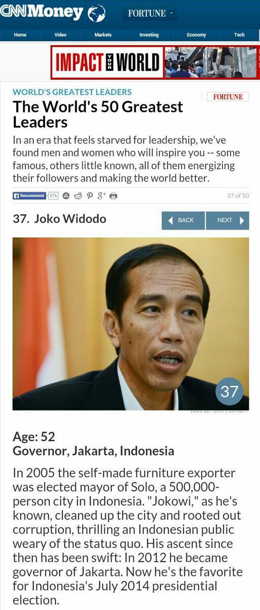 Keren bung! RT @jokoanwar: Ini berita di CNN Jokowi terpilih dalam 50 pemimpin terbaik dunia. http://t.co/Be8L3vwKy3 http://t.co/lzmSIQWGpc