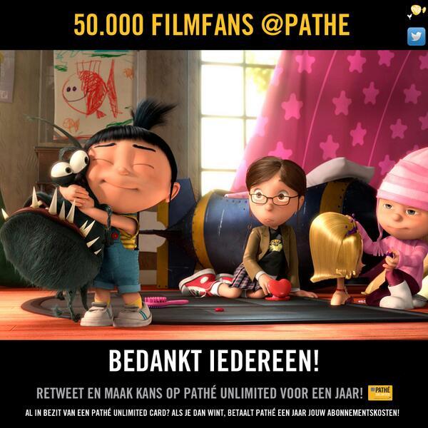 50.000 followers! Dat betekent filmprijzen weggeven.  Retweet en maak kans op Pathé Unlimited voor een jaar! http://t.co/B2pQsQd9hx
