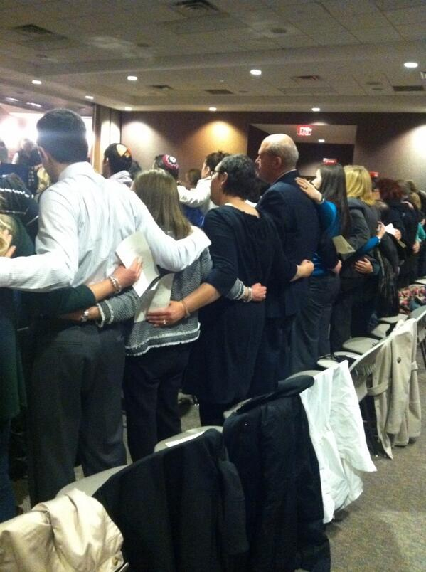 Moving moment @JCCKC Interfaoth service. Hundreds of strangers put arms around shoulders &  sing Shalom. #WeAreKC http://t.co/QpjTKJgWJG