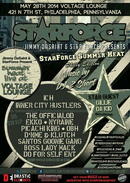 New York coming to Philly 4 the @STARFORCEHH concert @voltageLounge @1OTG @Hiphopondeckcom @TriStateMusik @DaBuzz247 http://t.co/LnE1NRnWLG