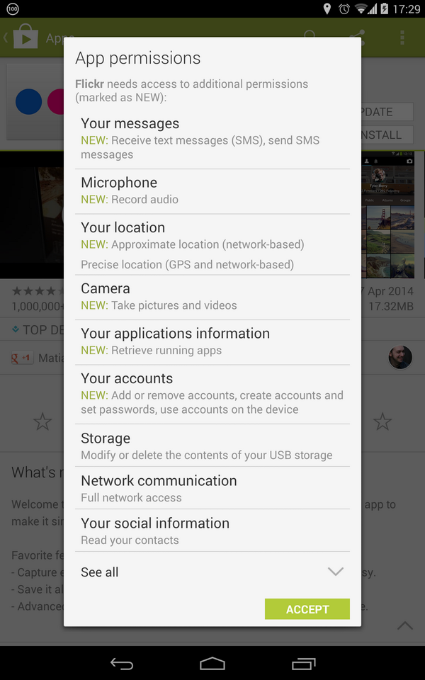 Android app permissions #fail by @flickr. I'm a paying customer, but not for long if they keep up this bullshit http://t.co/vGbKmP3a42