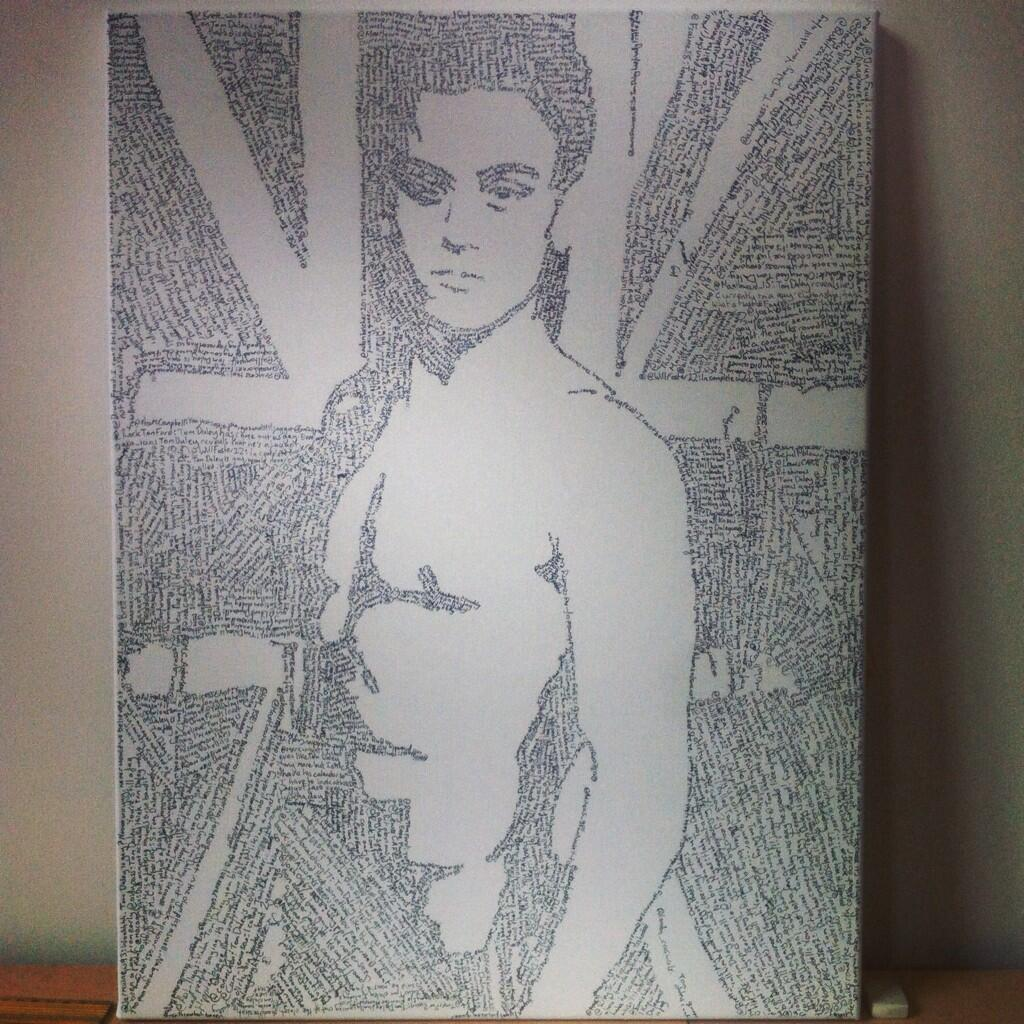 RT @conartworks: My finished portrait of @TomDaley1994 made out of the homophobic tweets sent to him when he came out. #art http://t.co/SUj…