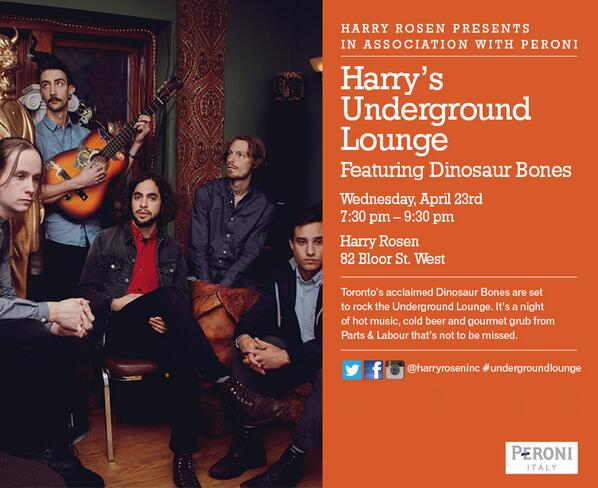 We're playing a FREE show at @HarryRosenInc (82 Bloor St W) on Apr 23. RSVP: http://t.co/tkUxnUBcpE #Toronto #free http://t.co/svapxksMUk
