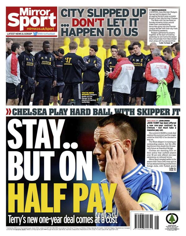 John Terrys £150,000 a week wages to be halved if Chelsea skipper decides to stay on [Mirror]