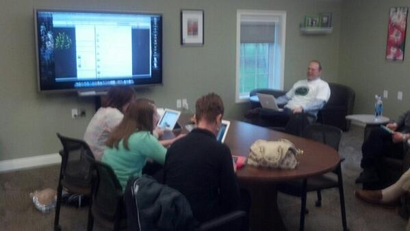 Staff gathered at Dublin Technology Center for their first twitter chat at #dubchat. http://t.co/2WRJpqhWAo