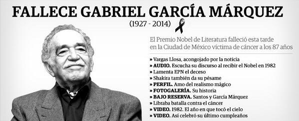 #GabrielGarcíaMárquez 1927 #Colombia - 2014 #México  http://t.co/S5EjgTdGFw http://t.co/A2DyGpkAts