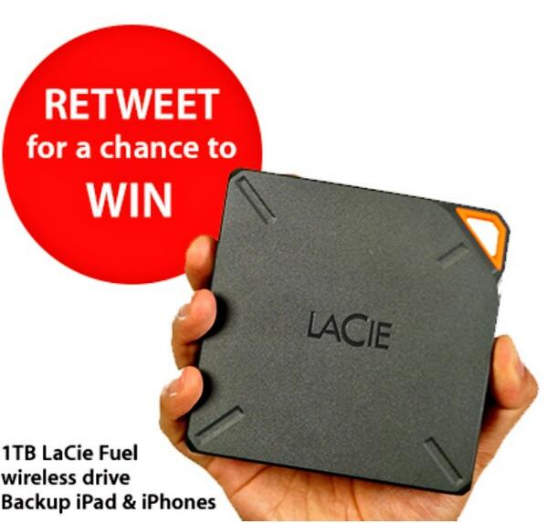 Want to #WIN a #LaCie Fuel wireless drive backup for iPads & iPhones? retweet & follow for a chance to WIN