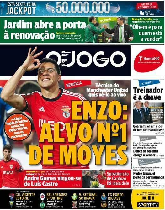 Benficas Enzo Perez is Man Uniteds number one summer target & Moyes saw him live against Porto [O Jogo]