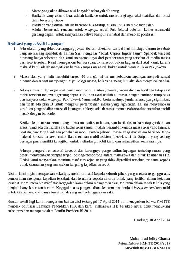 Berikut terlampir klarifikasi resmi KM ITB perihal aksi 17 April 2014 (2) http://t.co/QHjrHUiEGz