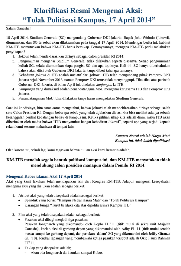 Berikut terlampir klarifikasi resmi KM ITB perihal aksi 17 April 2014 (1) http://t.co/LtLOknmQHc