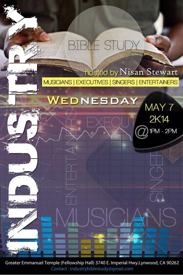 Everyone go follow @indbiblestudy. As promised, #IndustryBibleStudy will start Wed May 7 at 1pm for 1 hr. http://t.co/XmUBn3x4Uj
