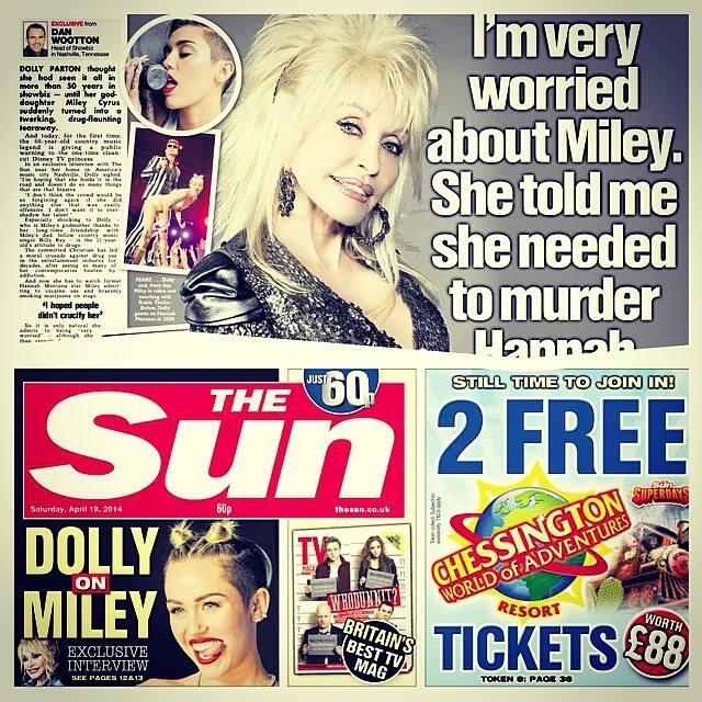 My exclusive interview from Nashville: Dolly on Miley. Only in today's @TheSunNewspaper http://t.co/DFnQOg3gFR http://t.co/8o3T4CnF3Y