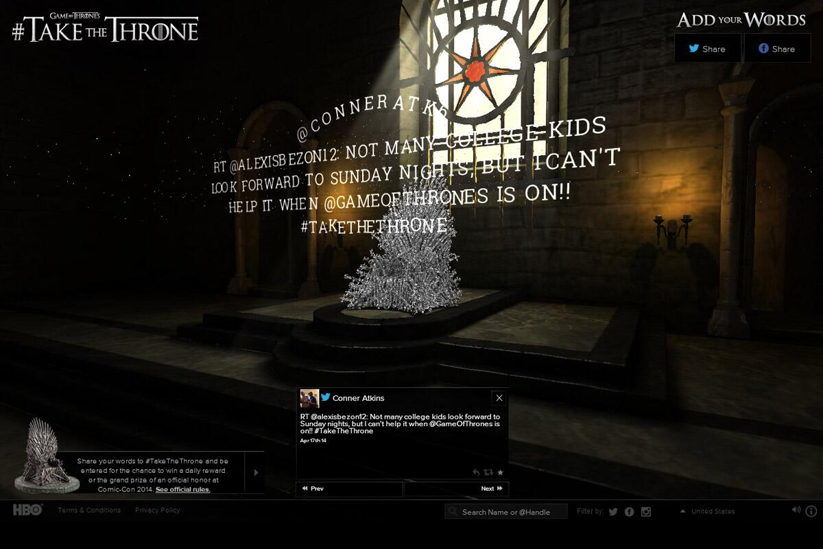 'Game of Thrones' fan Tweets are turned into a digital iron throne: http://t.co/mizwqVRQZ7 http://t.co/iWuZPpJwHd