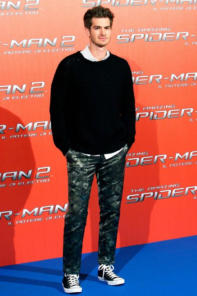 What do you think of Andrew Garfield's floral trousers? #SpiderMan http://t.co/o1QO0As2nx http://t.co/6S10v2xCWw