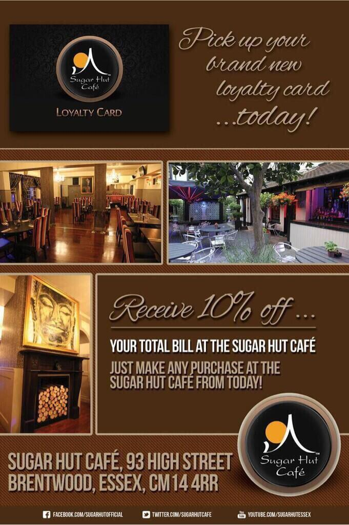 Don't forget if you are dining in the @SugarHutCafe to ask a member of staff about our new @sugarhut loyalty cards! http://t.co/1EjVYQ3nfC