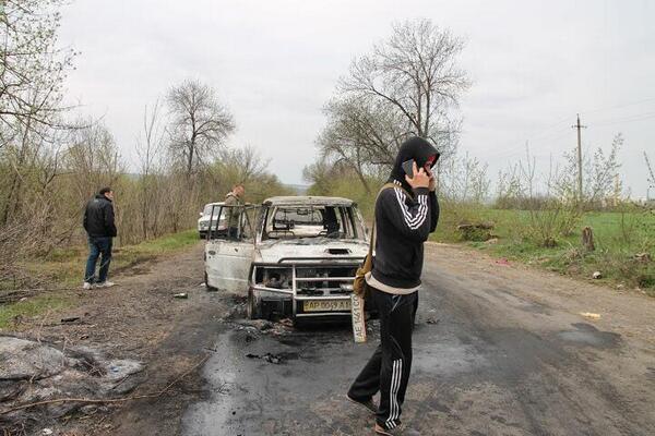Славянск. 20 апреля. Атака блок-поста