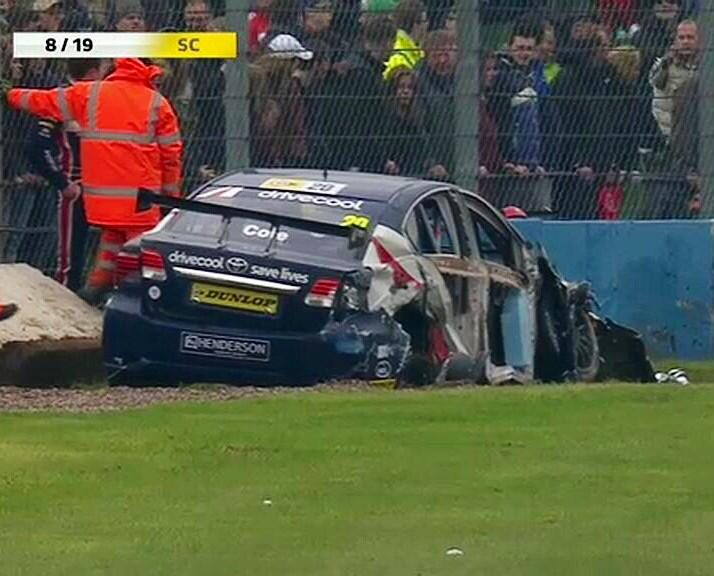 RT @racerjimmy: Sadly it is as bad as it looks. Thankfully I am fine! Thank you to the @DoningtonParkUK Marshals! #BTCC http://t.co/zFOZfBt…