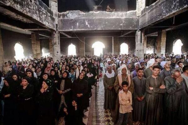 Dear pro-Erdogan: Copts in Egypt pray in one of many churches burnt by Islamists. Doubt U will see it in your media http://t.co/RDvKCBbKgm