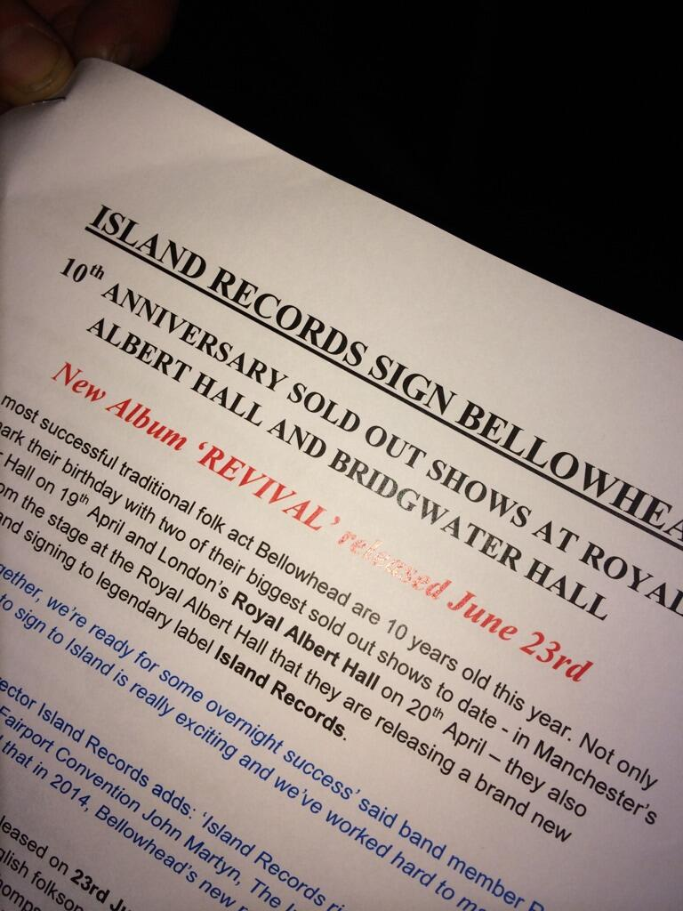 So - it's Easter Sunday and it's @Bellowhead at the Royal Albert Hall. News just in: http://t.co/NiCFqarnuQ