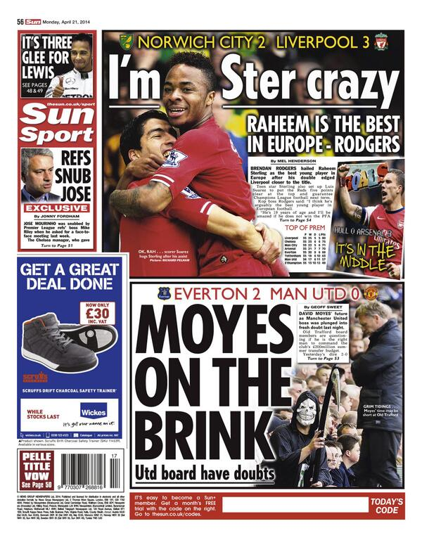 Manchester United board have doubts over David Moyes after defeat at Everton [Sun Sport]