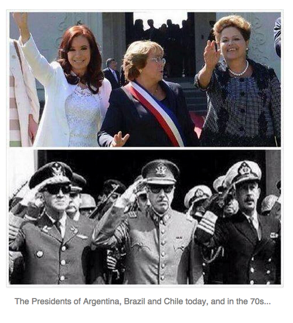 The presidents of Argentina, Brazil and Chile today versus the 1970s. http://t.co/bhXZcaroU8