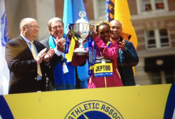 Very honored to crown the women's elite first place finisher Rita Jeptoo today at the @bostonmarathon finish line. http://t.co/pPsf60BCUD